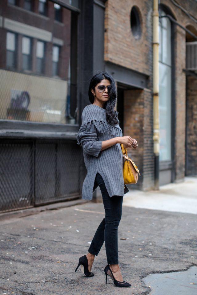 looks to wear grey sweater trendynesia